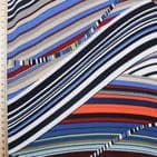 Polyester Bubble Crepe Dress Fabric -  Colourful Stripey Swirls